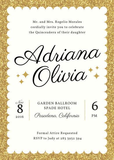 Glamorous Quinceañera Birthday Invitation