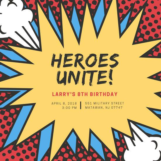 Red Yellow Blue Comic Bubble Superhero Invitation