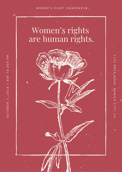 Red and Cream Vintage Flower Women's Rights Poster