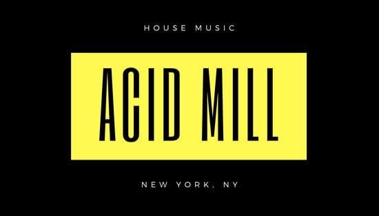 Black Yellow Modern DJ Business Card