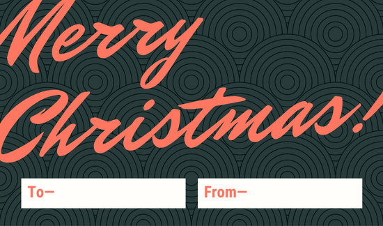 Green Red Script Christmas Tag