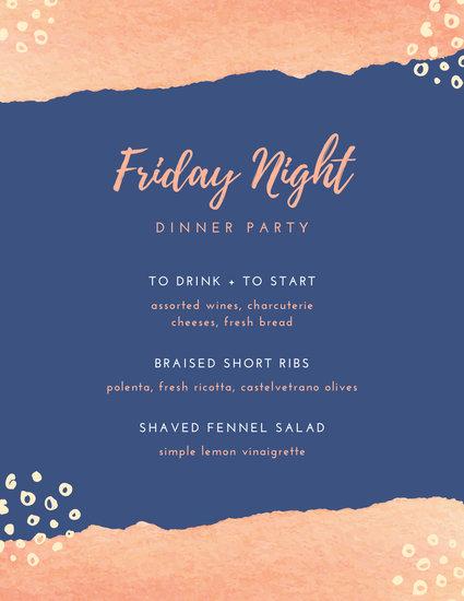 Pastel Watercolor Dinner Party Menu