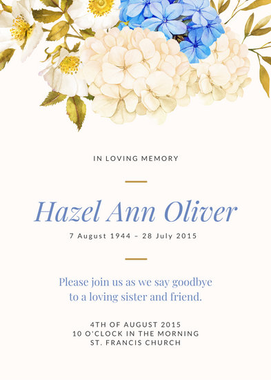 Illustrated White and Blue Flowers Funeral Invitation