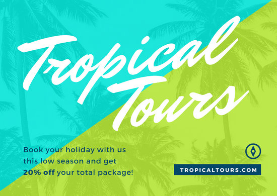Tropical Tours Neon Business Postcard