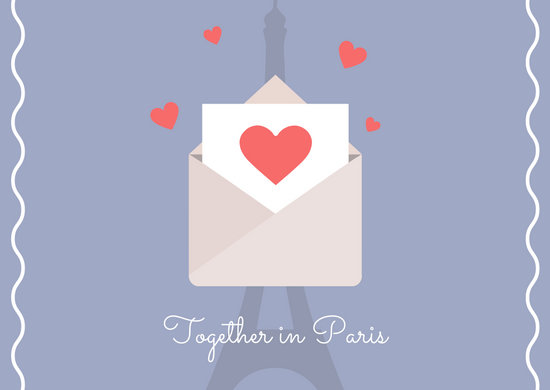 Pastel Blue Envelope French Postcard