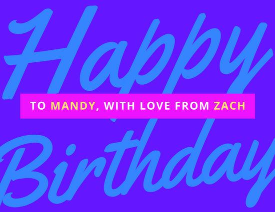 Purple Typography Happy Birthday Card