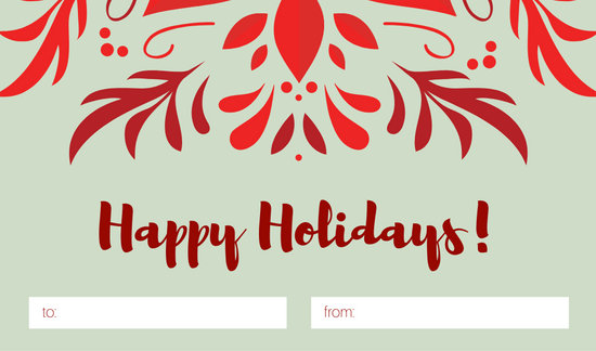 Red Flower Christmas Tag