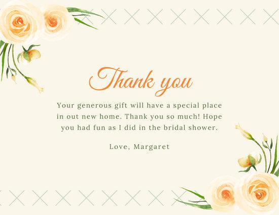 Peach Watercolour Roses Bridal Shower Thank You Card