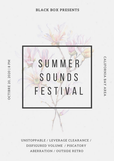 Dirty White Floral Watercolor Illustration Summer Music Festival Poster
