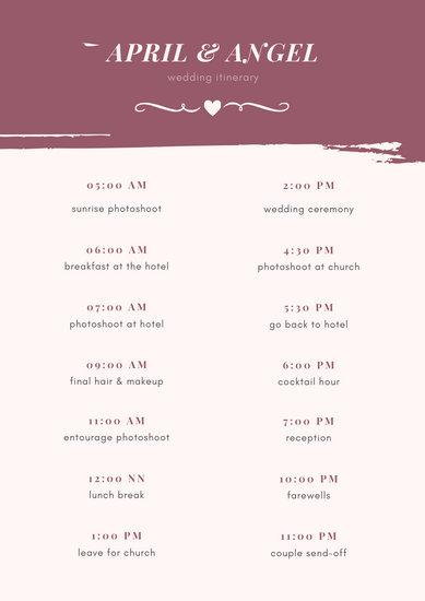 Cream Wedding Itinerary Planner