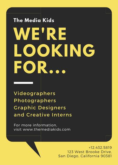 Yellow with Speech Bubble Job Vacancy Announcement