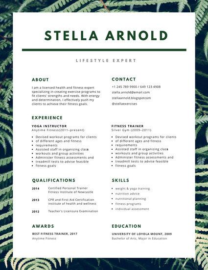 Green Health Photo Resume