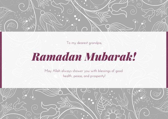 Violet Floral Greeting Ramadan Card