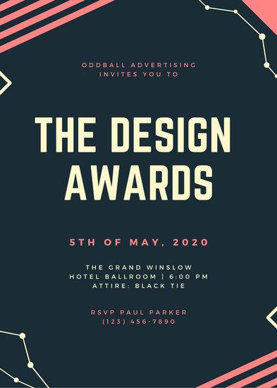Blue and Pink Geometric Constellations Creative Awards Night Invitation