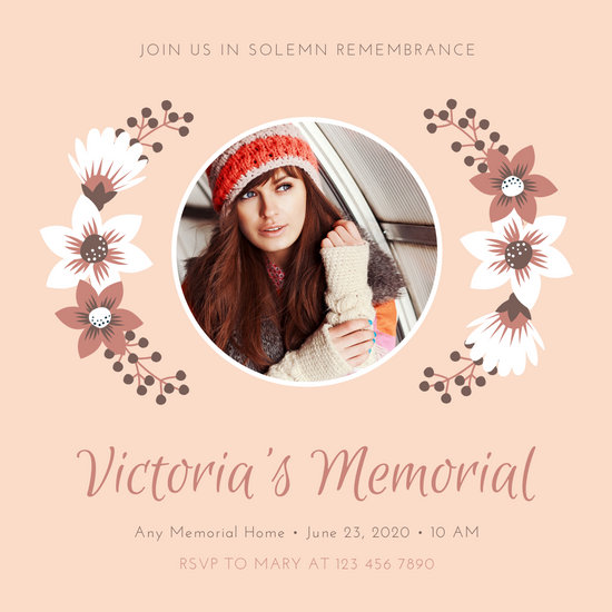 Pink Brown Floral Photo Simple Memorial Invitation