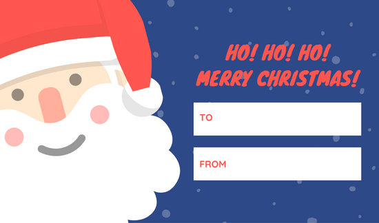 Red and Blue Illustrated Santa Claus Christmas Tag