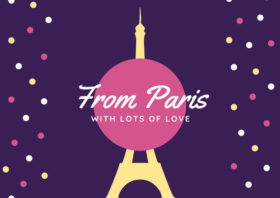 Violet Pink Yellow Eiffel Tower French Postcard