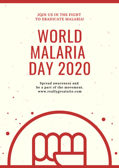 Red and White Illustrated Fist World Malaria Day Poster