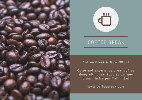 Coffee Break Blue and Brown Direct Mail Postcard
