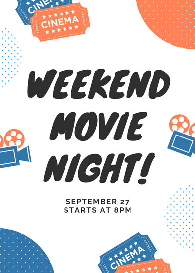 Coral and Blue Dots Illustrations Movie Night Flyer