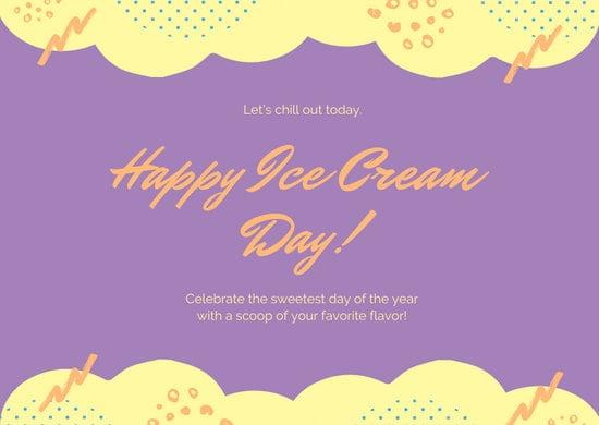 Yellow Purple Illustration Greeting National Ice Cream Day Card