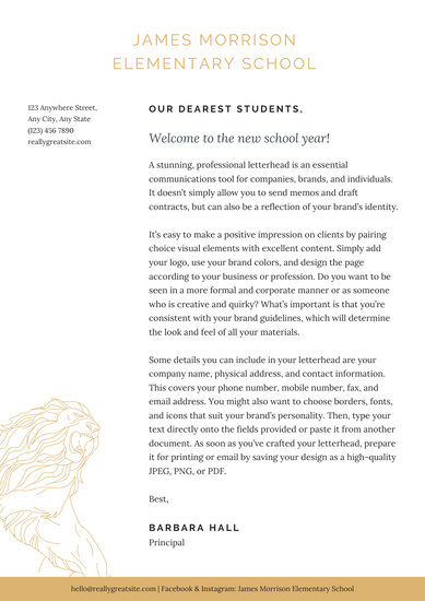 White Lion Welcome letter to students School Letters