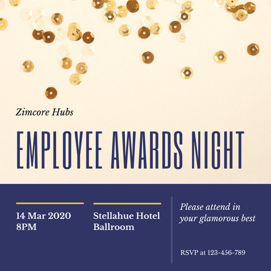 Blue and Gold Sequins Awards Night Invitation