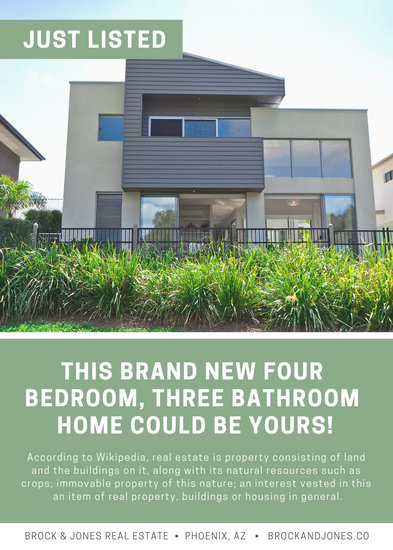 Green Modern Real Estate Corporate Flyer