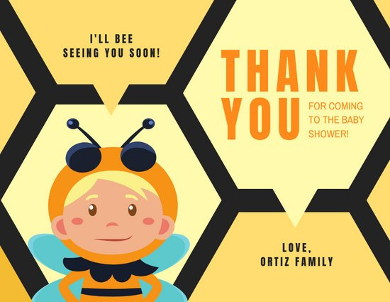Bee Baby Shower Thank You Card