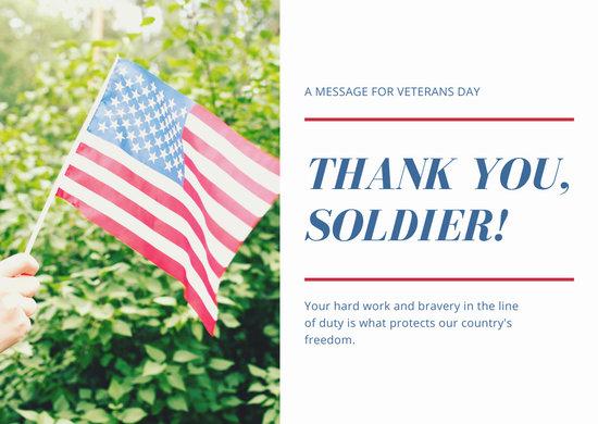 Blue Photo Flag Greeting Veterans Day Card
