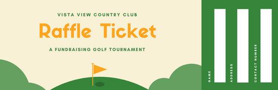 Green and Orange Sports Raffle Ticket