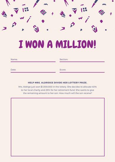 Purple Confetti Math Games Worksheet