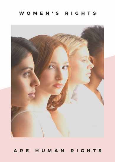 Pink and White Minimalist Photo Women's Rights Poster