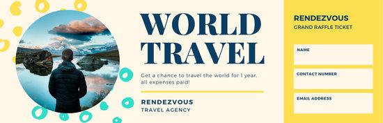 Cream & Yellow Creative Colorful Travel Raffle Ticket