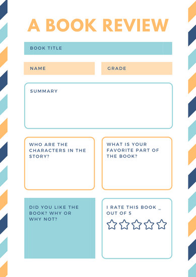 Colorful Fun Stripes Primary School Book Review Worksheet