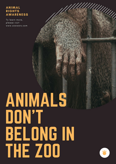 Dark Brown and Orange Animal Rights Poster