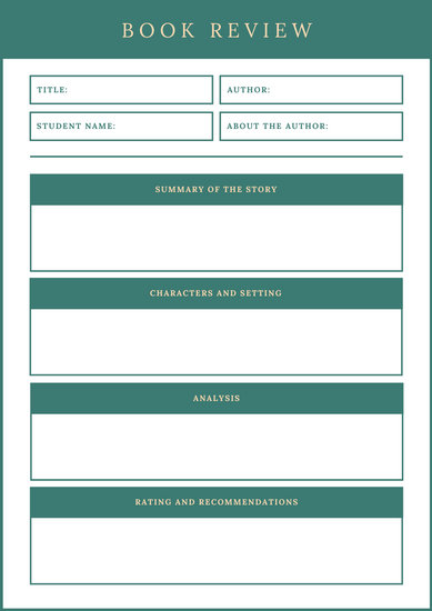 Green English Book Review Worksheet