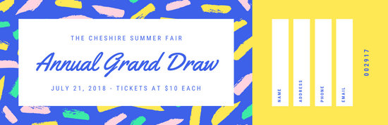 Bright Blue and Yellow Handdrawn Patterned Raffle Ticket