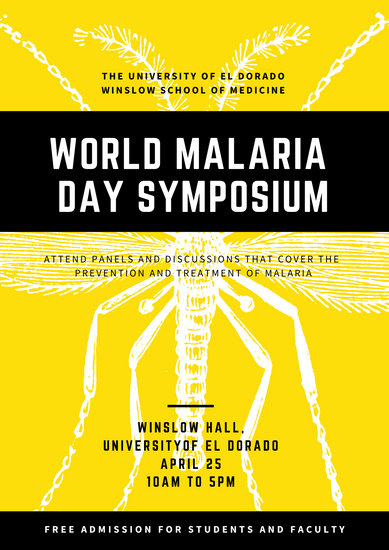 Yellow Mosquito Illustration World Malaria Day Poster