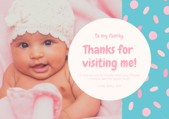 Blue Pink Baby Girl Cute Thank You Card