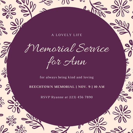 Purple and Cream Floral Pattern Memorial Invitation