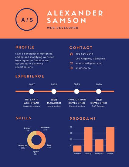 Orange Blue Simple Infographic Resume