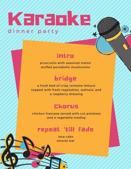 Illustration Karaoke Dinner Party Menu