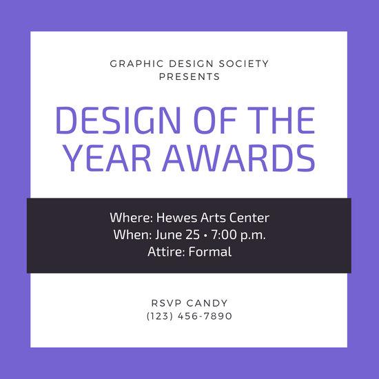 Violet Bordered Awards Night Invitation