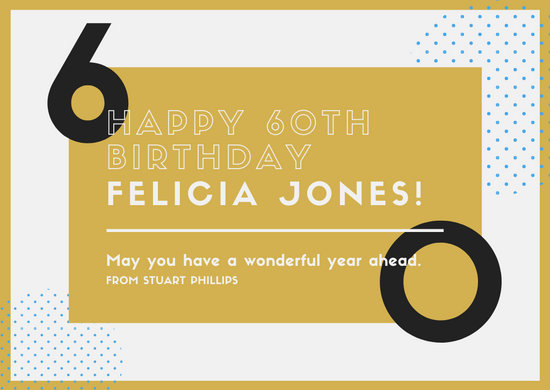 Gold & White Modern Abstract 60th Birthday Greeting Card