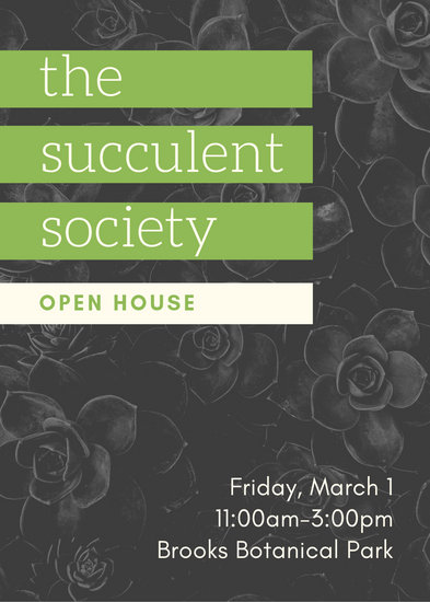 Grey Green Plant Succulent Club Open House Flyer