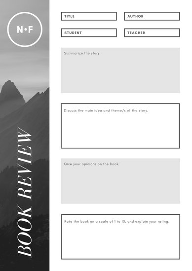 Grey Photo Modern Non-fiction Book Review Worksheet