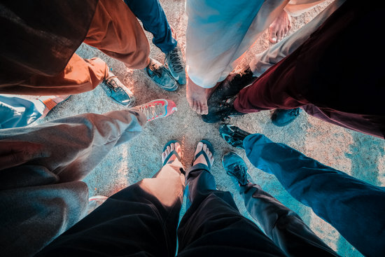 Group of peoples feet